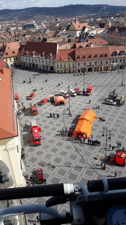 Simulare de incendiu la Primaria Sibiu